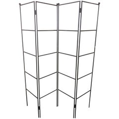 Minimalist Four-Panel Wrought Iron Room Divider / Screen