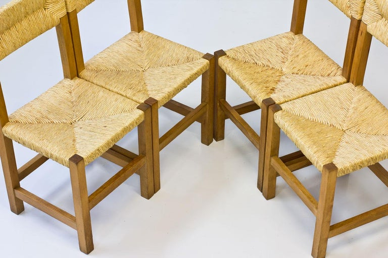 Minimalist French Rustic Chairs In Straw Beech 1960s Set Of Four For