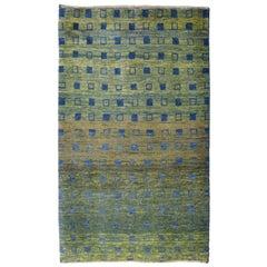 Minimalist Green and Indigo Persian Kashkooli Wool Carpet