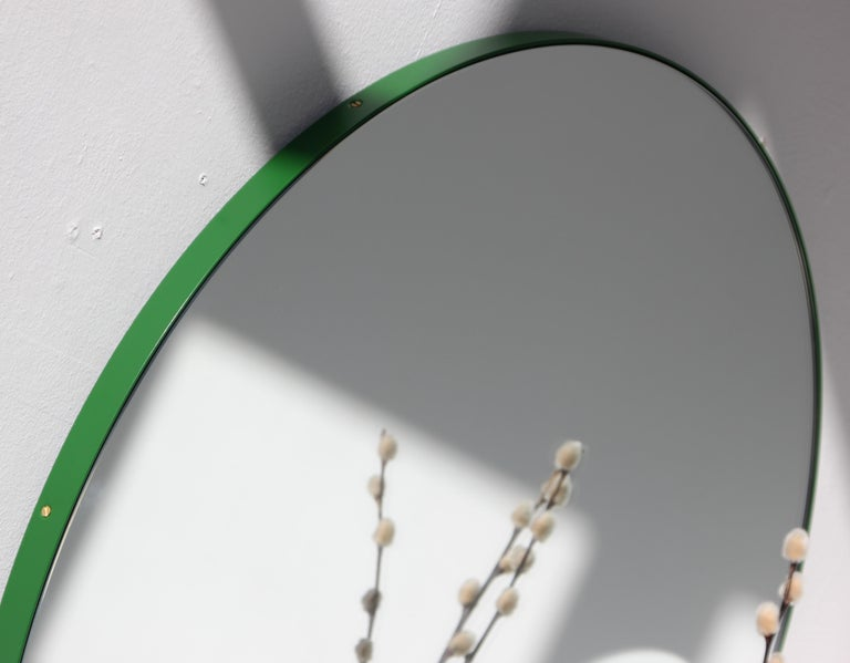 Organic Modern Minimalist Green Frame Orbis Circular Wall Mirror, Small For Sale
