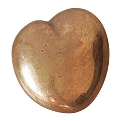 Minimalist Heart Shaped Solid Bronze Pebble by Monique Gerber, France, 1970s