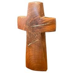Minimalist Inlaid Walnut Crucifix / Cross