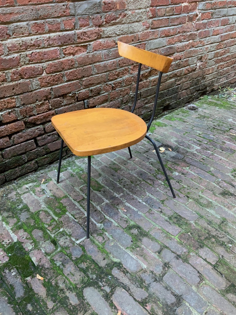 Unknown Minimalist Iron and Maple Chair in the Manner of Luther Conover For Sale