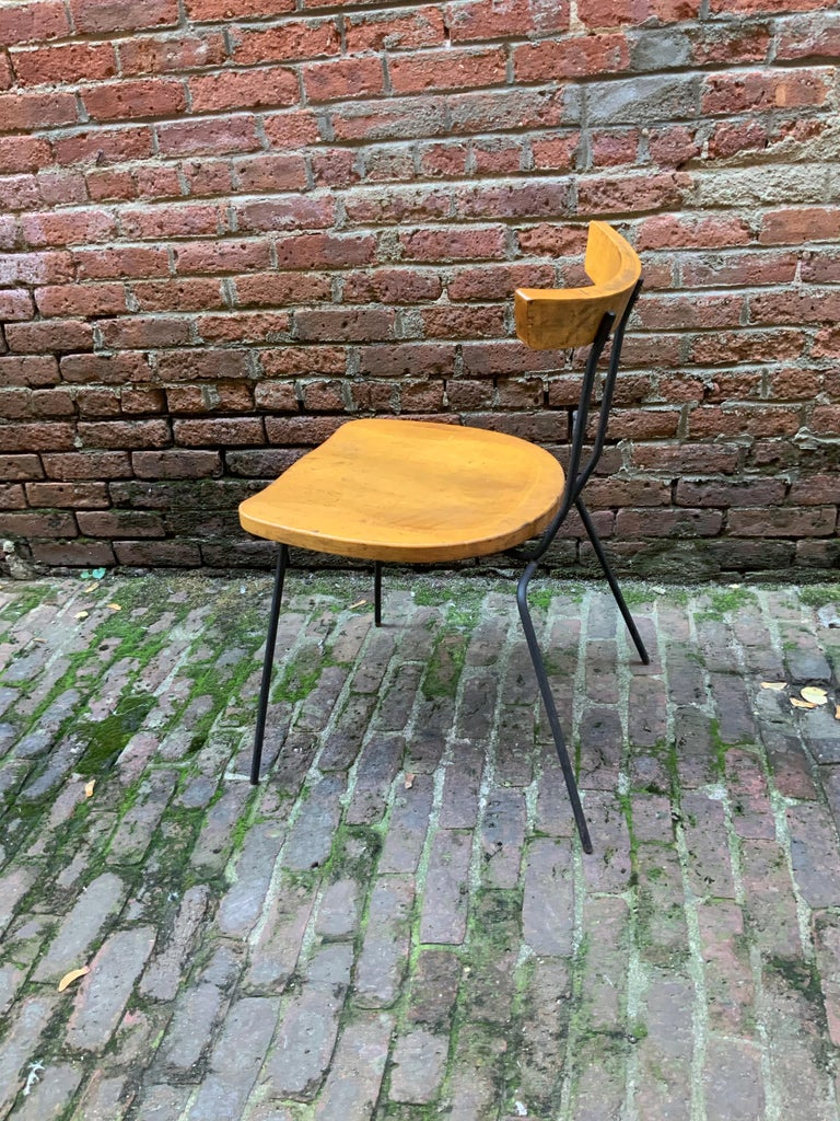 Mid-20th Century Minimalist Iron and Maple Chair in the Manner of Luther Conover For Sale