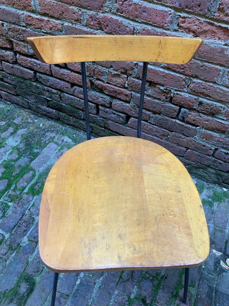 Minimalist Iron and Maple Chair in the Manner of Luther Conover For Sale 1