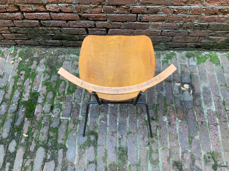 Minimalist Iron and Maple Chair in the Manner of Luther Conover For Sale 2