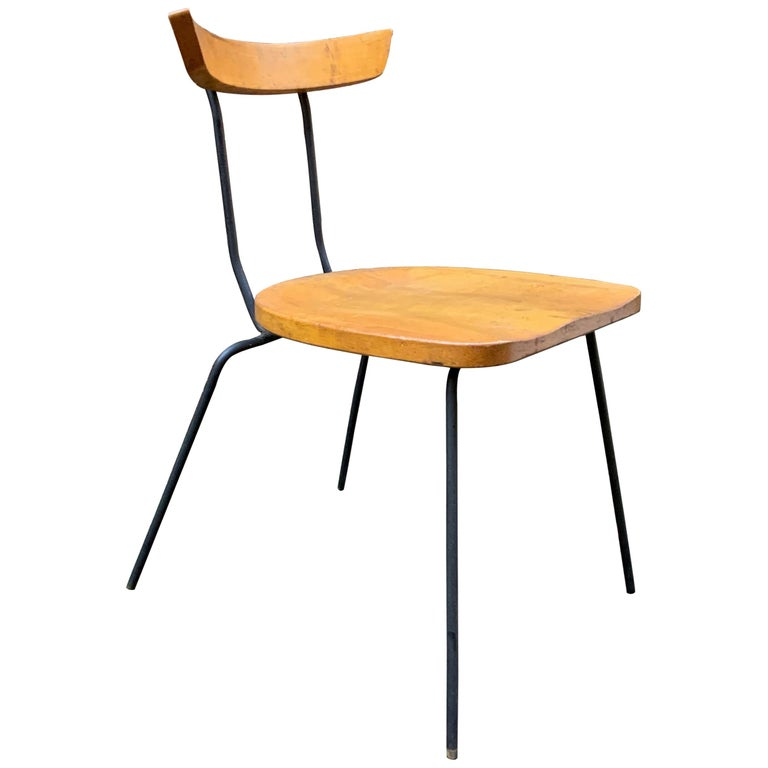 Minimalist Iron and Maple Chair in the Manner of Luther Conover For Sale