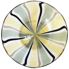 Minimalist Italian Murano Black and Gold Art Glass Bowl, Signed
