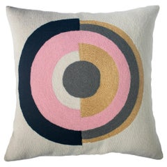 Minimalist Madison Circle Hand Embroidered Modern Geometric Throw Pillow Cover