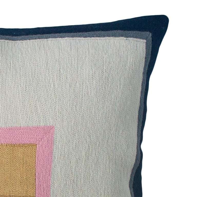 Indian Minimalist Madison Square Hand Embroidered Modern Geometric Throw Pillow Cover For Sale