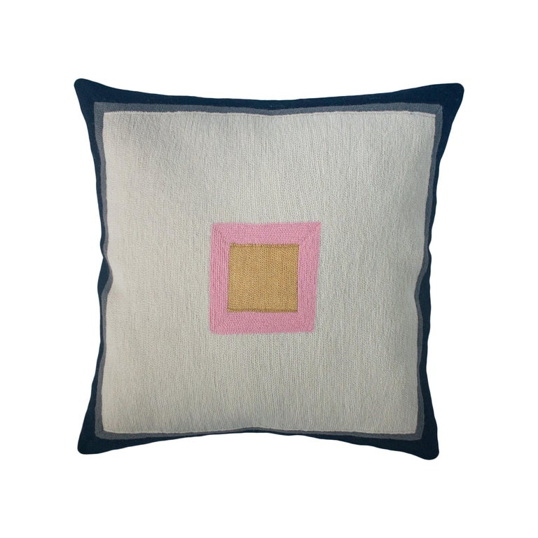 Minimalist Madison Square Hand Embroidered Modern Geometric Throw Pillow Cover For Sale