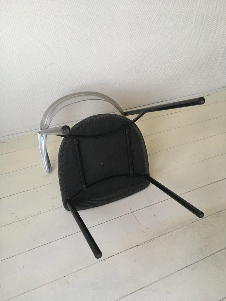 Minimalist Metal Armchairs, Cowhorn Chairs in Style of Borek Sipek For Sale 3