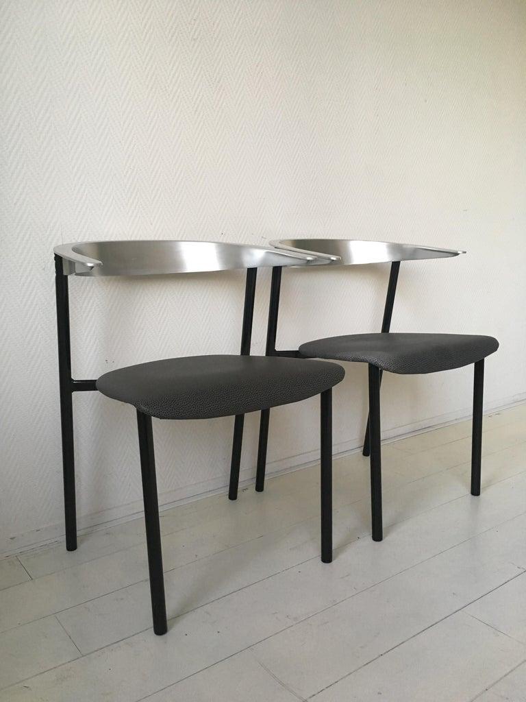 European Minimalist Metal Armchairs, Cowhorn Chairs in Style of Borek Sipek For Sale
