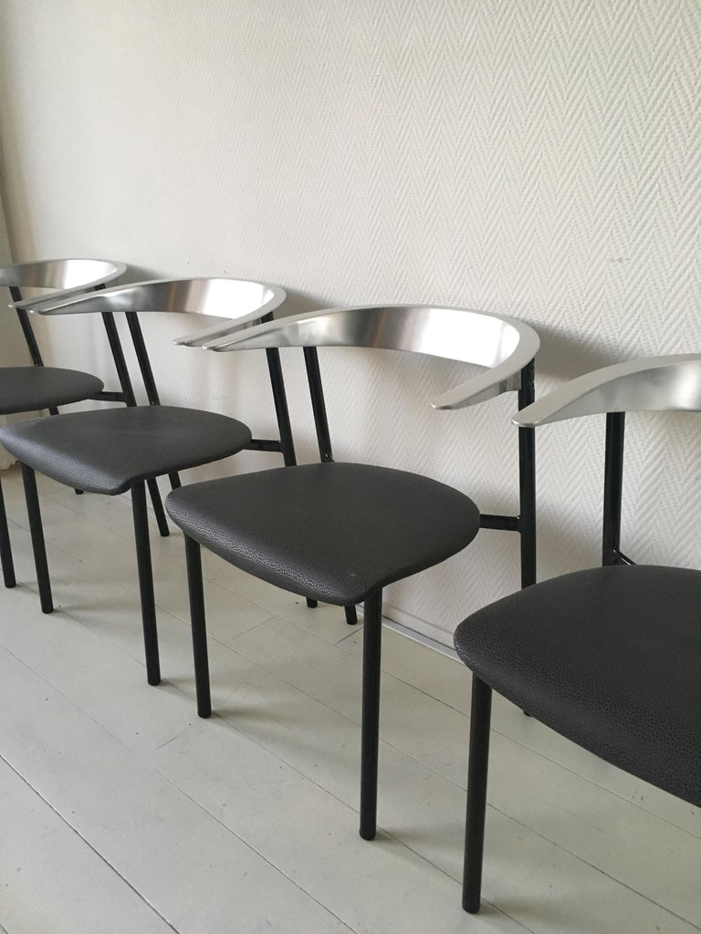 Lacquered Minimalist Metal Armchairs, Cowhorn Chairs in Style of Borek Sipek For Sale