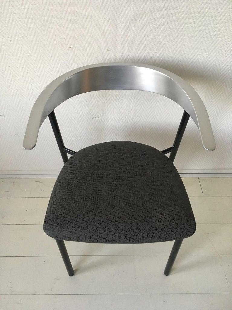 Minimalist Metal Armchairs, Cowhorn Chairs in Style of Borek Sipek For Sale 2