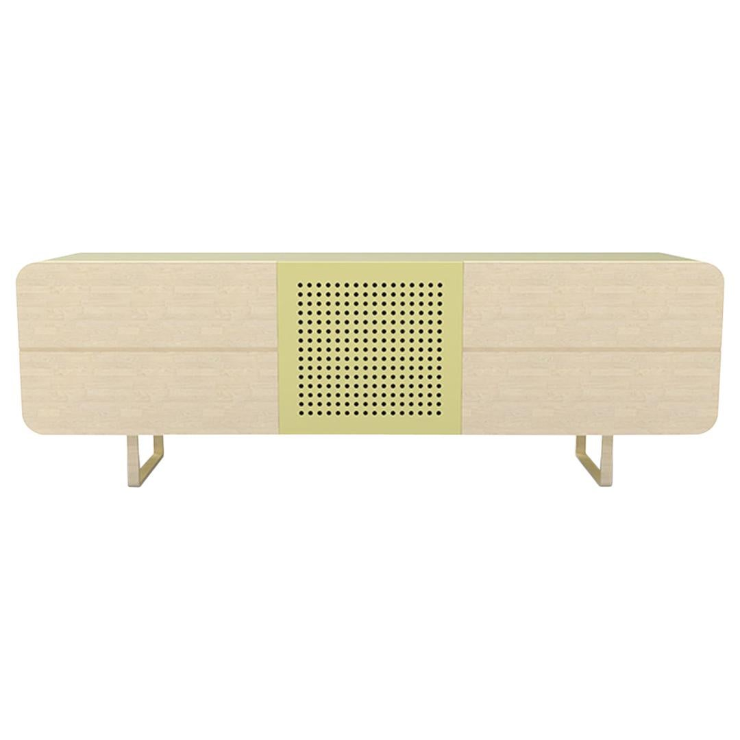 Minimalist Mid-Century Modern Style Credenza in Metal and Solid Wood