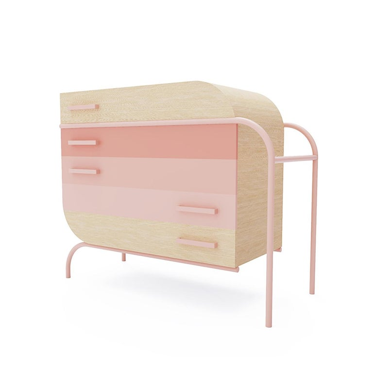 The staple of modern contemporary furniture, this wood credenza instantly enamors with its pastel colors and clean lines. Bold in appearance and functional in use, this showstopping piece of furniture gives storage a fresh new look!  Customizable in