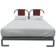 Minimalist Queen Size Bed with Leather Frame and Solid Wood