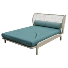 Minimalist Mid-Century Modern Queen Size Bed with Woven Can Headboard Solid Wood