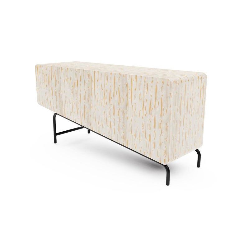 Hand-Crafted Minimalist Mid-Century Modern Style Credenza in Solid Wood For Sale