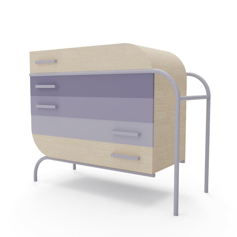 Contemporary Minimalist Mid-Century Modern Style Credenza in Solid Wood For Sale