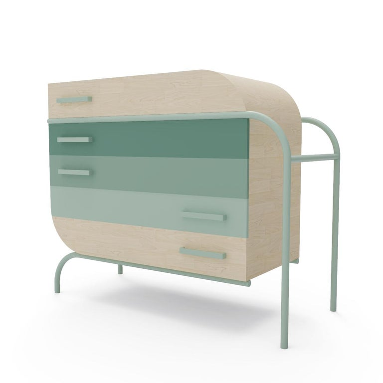 Metal Minimalist Mid-Century Modern Style Credenza in Solid Wood For Sale