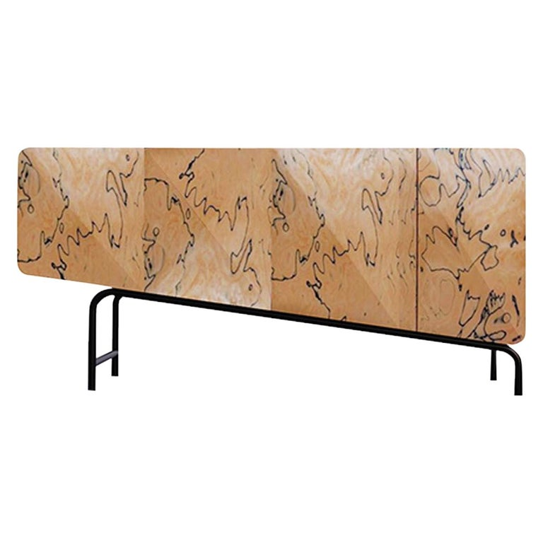 Minimalist Mid-Century Modern Style Credenza in Solid Wood For Sale