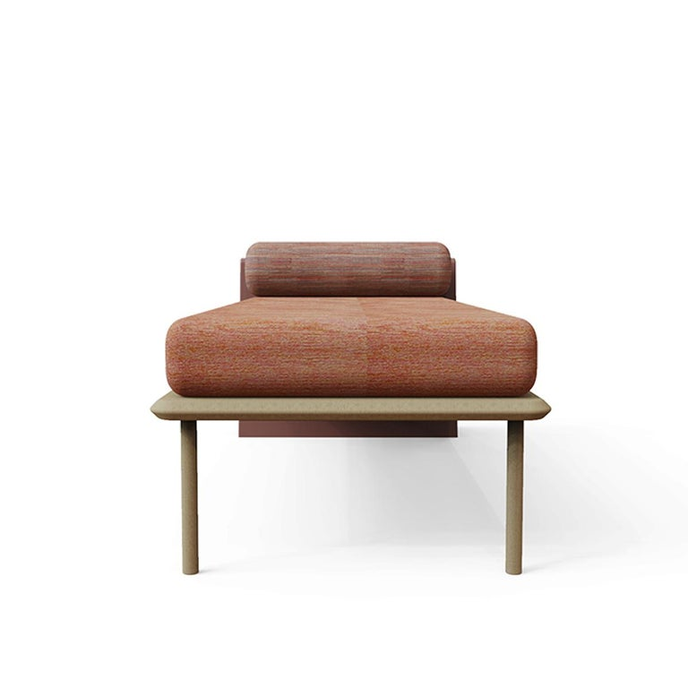 Mexican Minimalist Mid-Century Modern Style Solid Wood Bench Upholstered in Textile For Sale