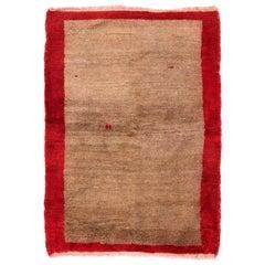 "Minimalist Mid-Century ""Tulu"" Rug in Red & Light Brown, 100% Wool"