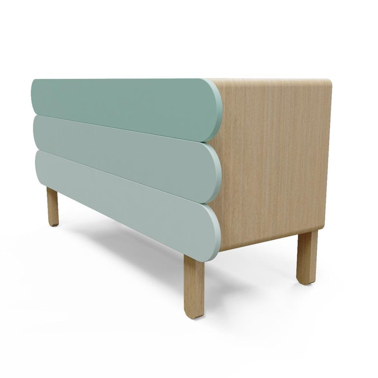 Design + Storage + Minimalism = Pelt Credenza. Craft in solid wood with colorful metal facade, the pelt credenza showcase an organic yet stylish silhouette with straight clean lines. Two doors open to reveal generous room to stow essentials of your