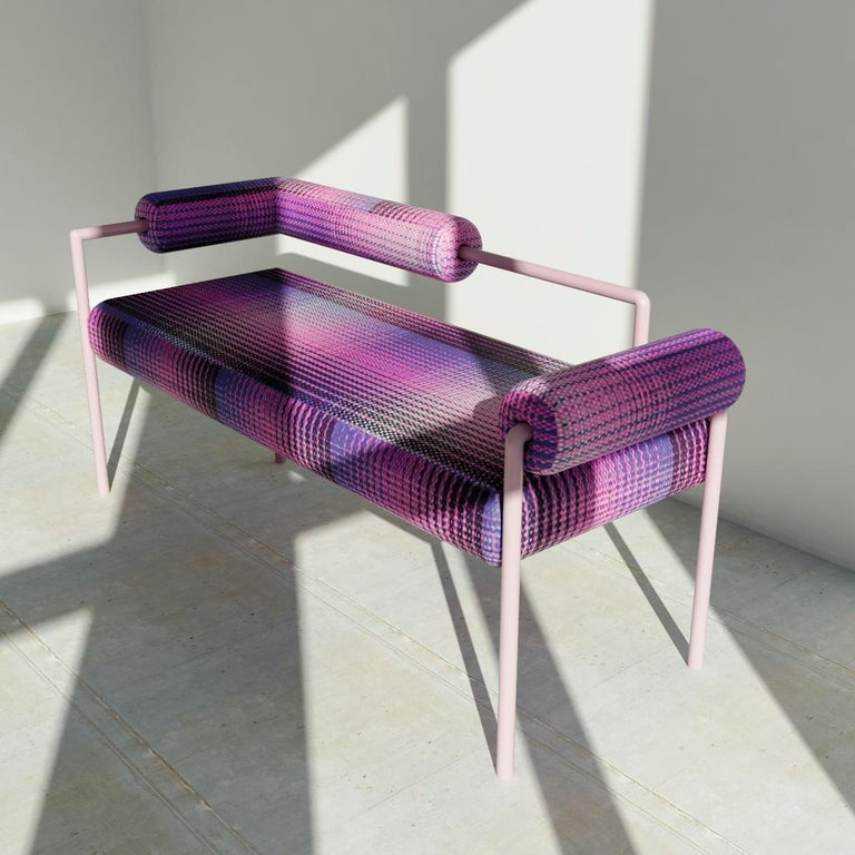 Mexican Minimalist Midcentury Modern Metal Bench Upholstered in Textile For Sale
