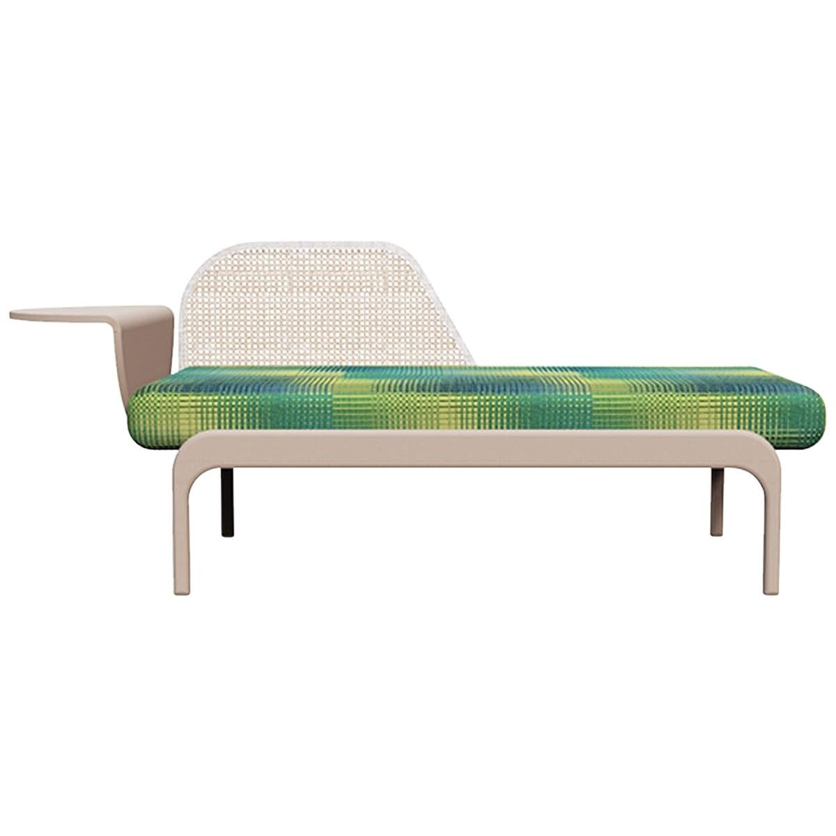 Minimalist Mid-Century Modern Style Solid Wood Bench Upholstered in Textile
