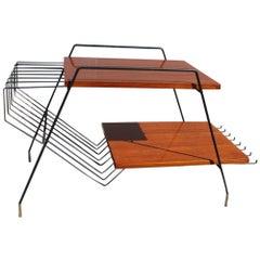 Minimalist Midcentury Table Coffee Rectangular Teak Iron Brass 1950s ISA Home