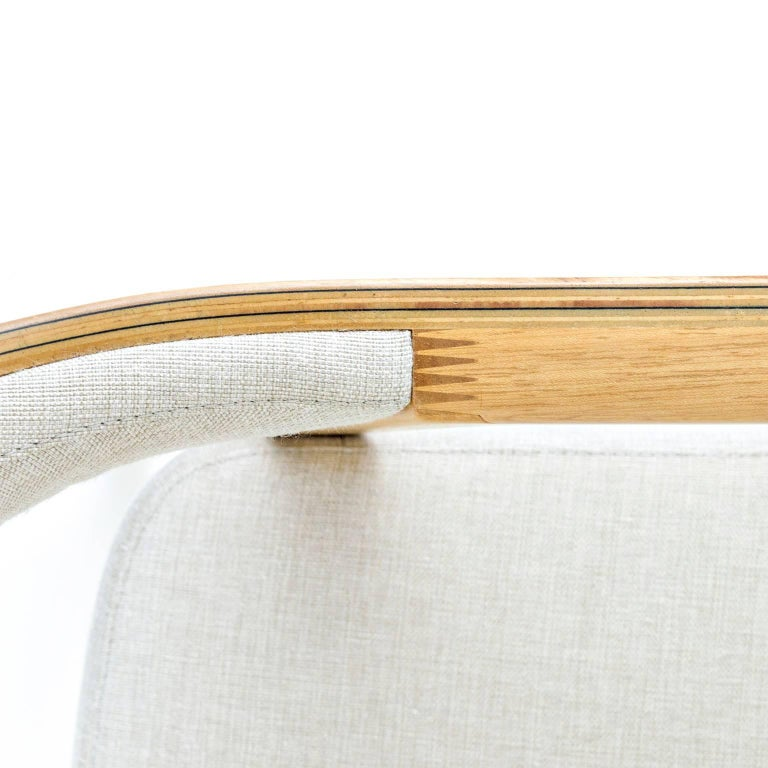 Hardwood Minimalist Modern Armchair in solid wood, Brazilian Design For Sale