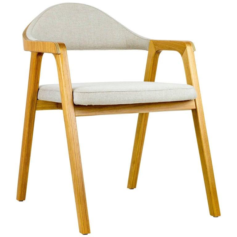 Minimalist Modern Armchair in solid wood, Brazilian Design For Sale