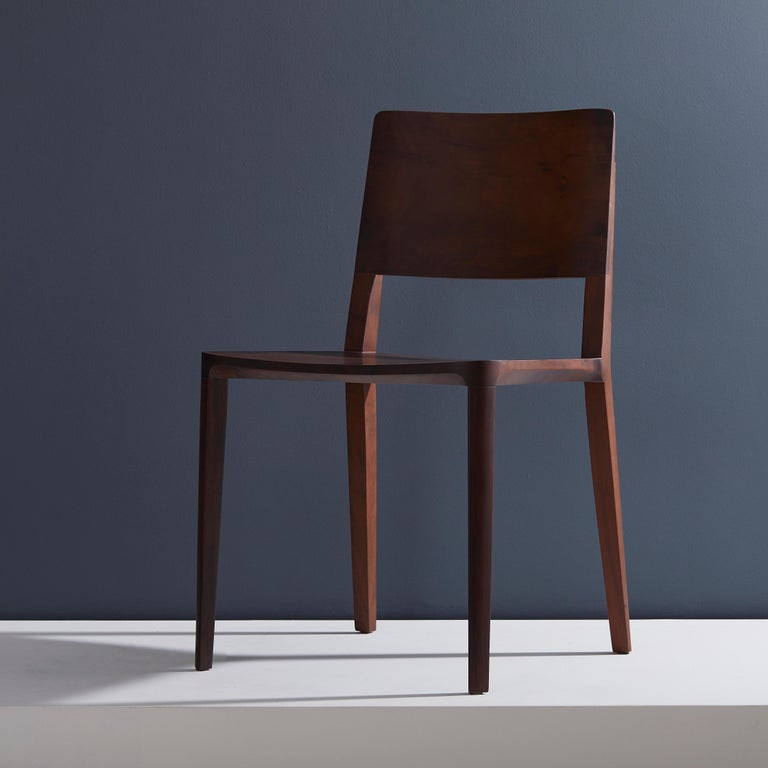Brazilian Minimalist Modern Chair in Black Imbuia Solid Wood Limited Edition For Sale