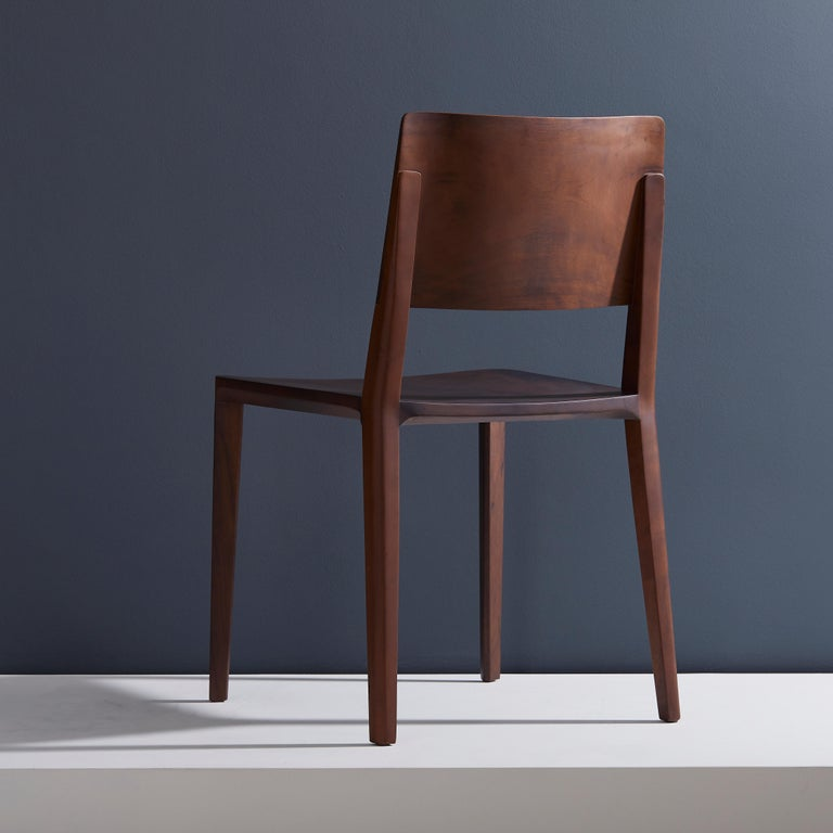 Minimalist Modern Chair in Black Imbuia Solid Wood Limited Edition In New Condition For Sale In Sao Paolo, SP