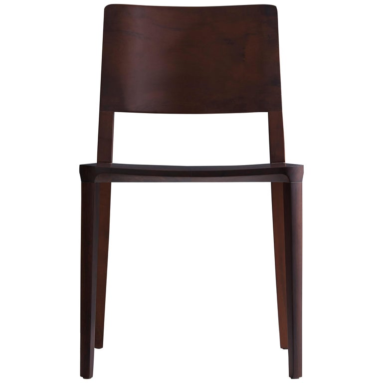 Minimalist Modern Chair in Black Imbuia Solid Wood Limited Edition For Sale