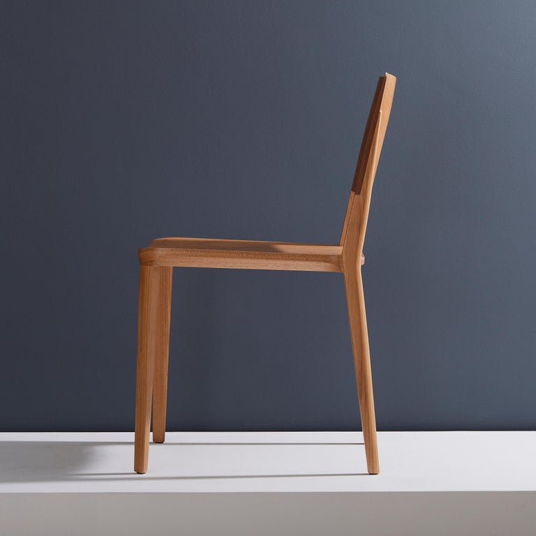 Brazilian Minimalist Modern Chair in Natural Solid Wood For Sale