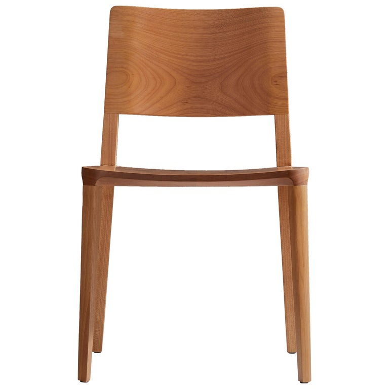 Minimalist Modern Chair in Natural Solid Wood For Sale