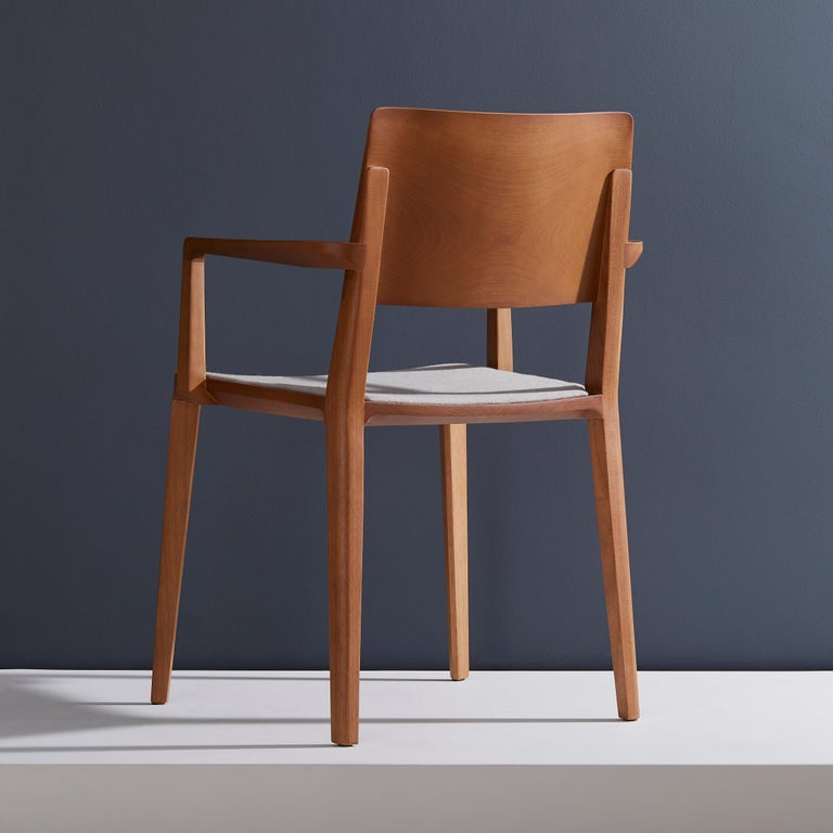 Brazilian Minimalist Modern Chair in Natural Solid Wood Upholstered Seating with Arms For Sale