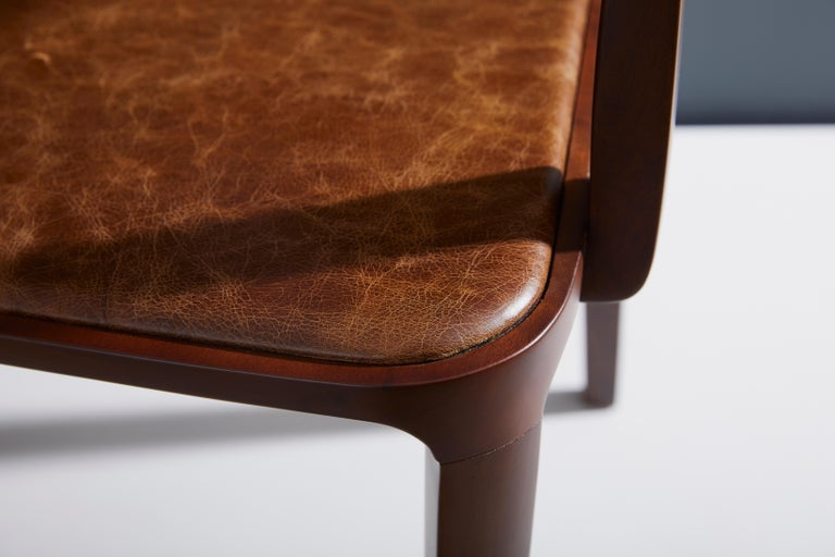 Textile Minimalist Modern Chair in Natural Solid Wood Upholstered Seating with Arms For Sale