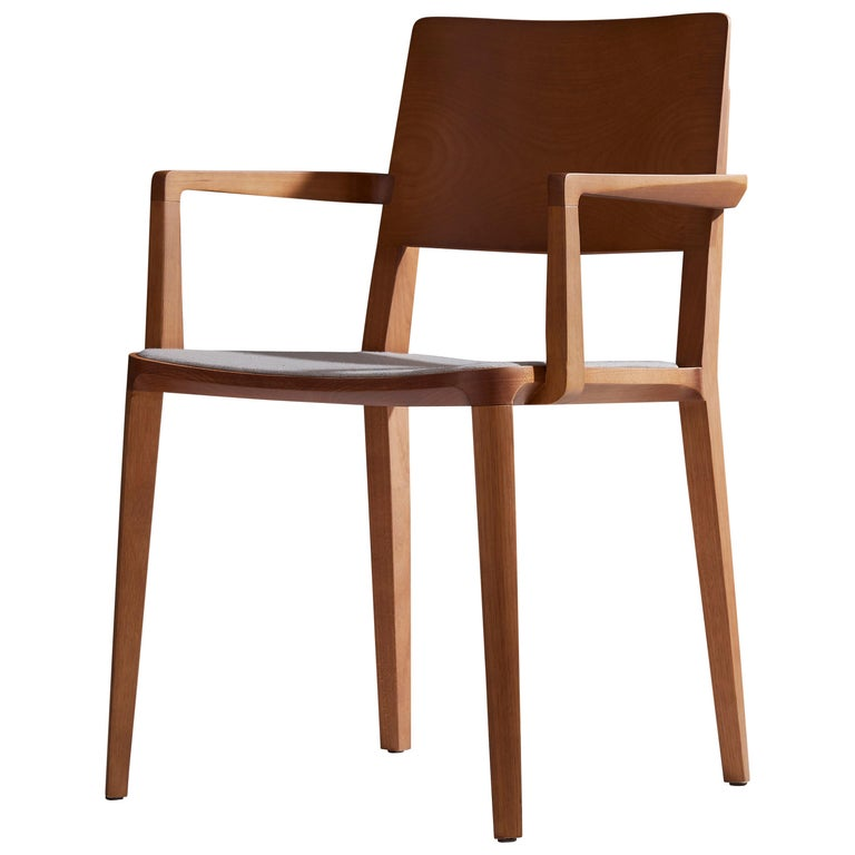 Minimalist Modern Chair in Natural Solid Wood Upholstered Seating with Arms For Sale