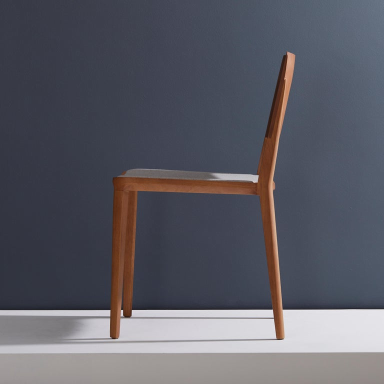 Brazilian Minimalist modern Chair in natural solid wood upholstered textile seating For Sale
