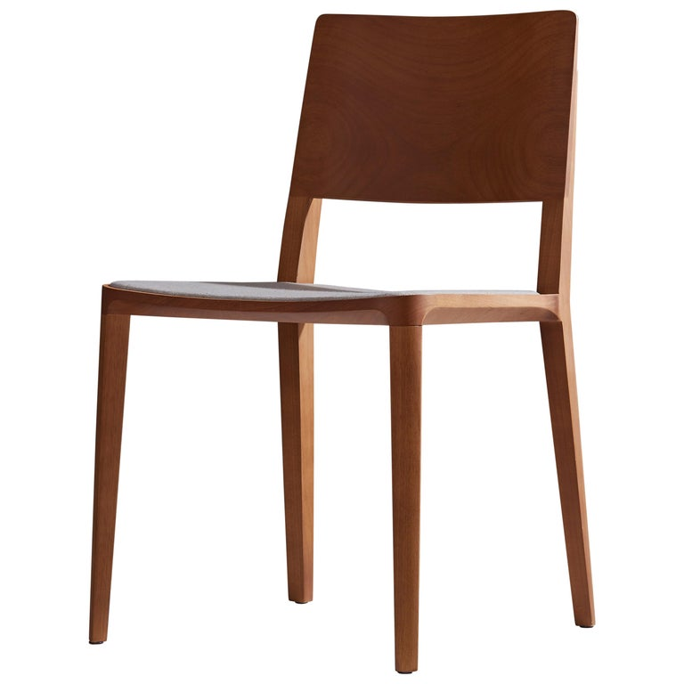 Minimalist Modern Chair in Natural Solid Wood Upholstered Textile Seating For Sale