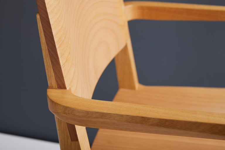 Minimalist Modern Chair in Natural Solid Wood with Arms For Sale 4