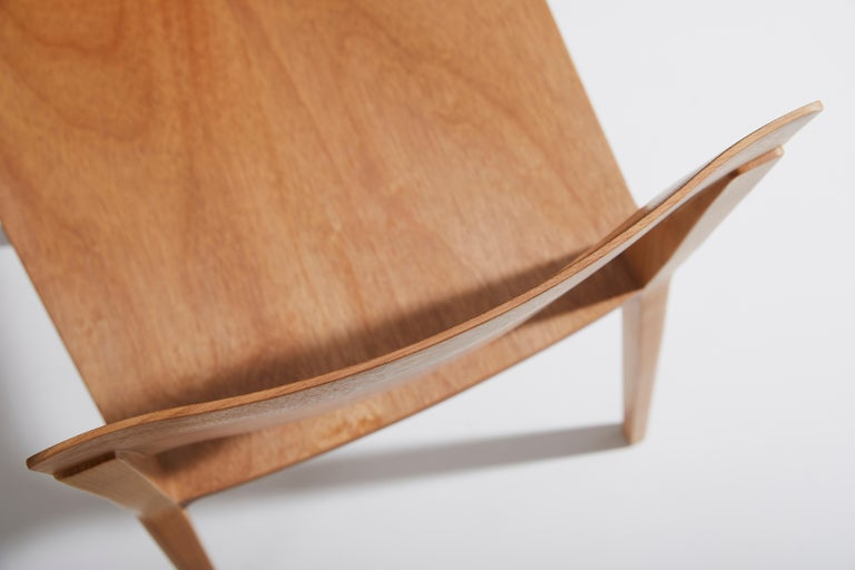Minimalist Modern Chair in Natural Solid Wood with Arms For Sale 8