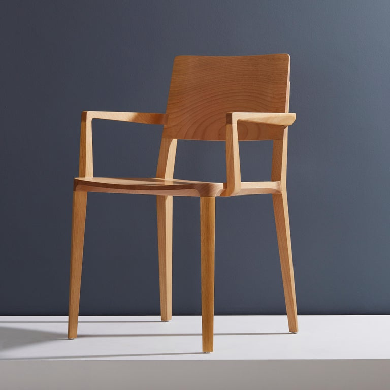 Evo chair collection.  Our Evo collection is based in the harmonic fusion between geometrical forms and the modern interpretation of wood archetypes.   All elements that compose the chair are precisely engineered to input full hardwood blocks to