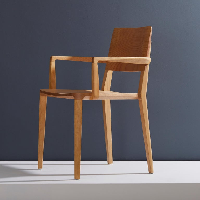 Brazilian Minimalist Modern Chair in Natural Solid Wood with Arms For Sale