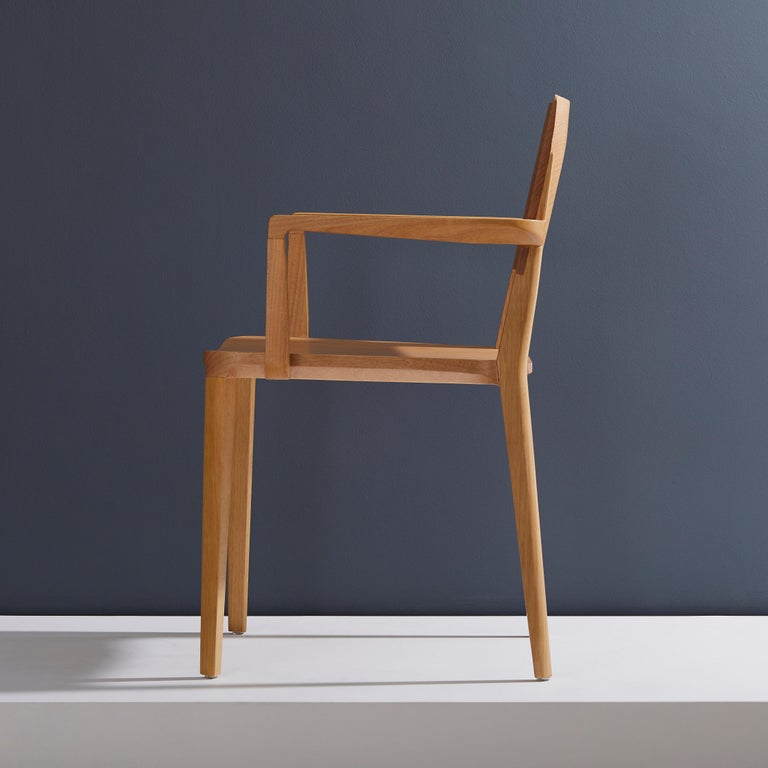 Contemporary Minimalist Modern Chair in Natural Solid Wood with Arms For Sale